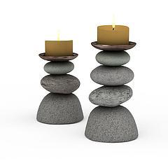 石头烛台模型3d模型