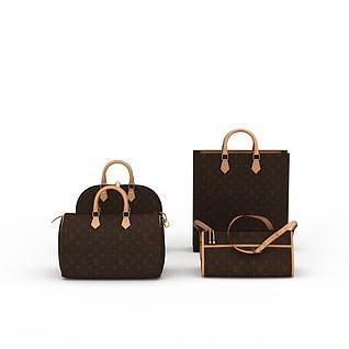 女士背包组合3d模型