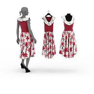 女士模特裙子3d模型