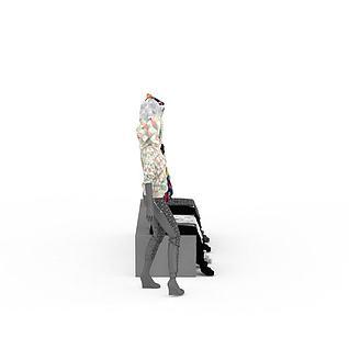 橱窗模特衣服柜台3d模型