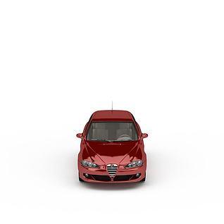 红色家用客车3d模型
