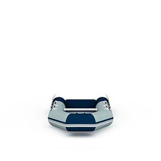充气手划小船3d模型