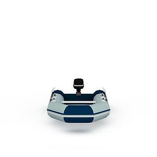 手划充气小艇3d模型