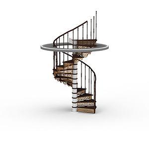 客厅旋转楼梯模型