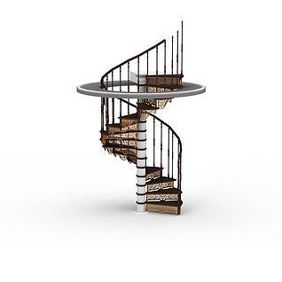 客厅旋转楼梯3d模型