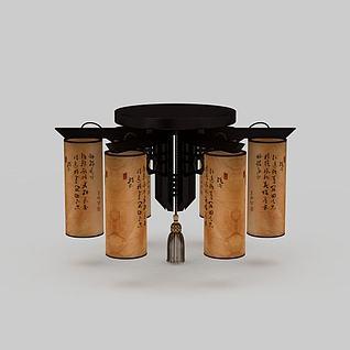 中式吸顶灯3d模型