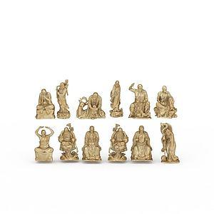 3d罗汉雕塑模型