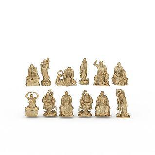 罗汉雕塑3d模型