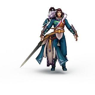 游戏剑侠角色3d模型