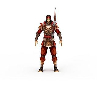 游戏弓箭手角色3d模型