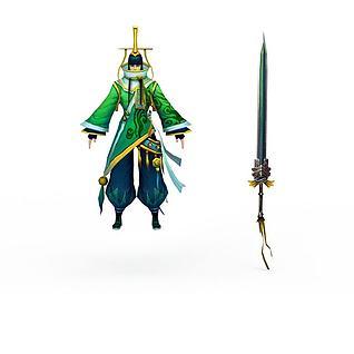 仙侠网游角色3d模型