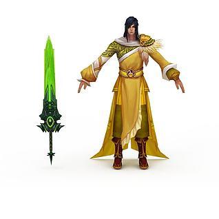 网游勇士角色3d模型