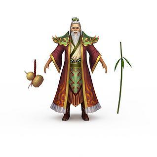 游戏老人角色3d模型