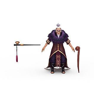 网游老年人角色3d模型
