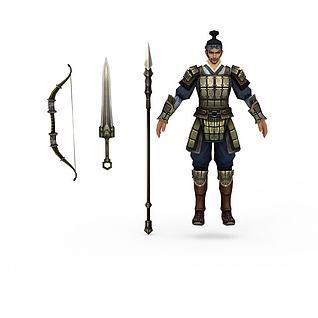 游戏铠甲人物3d模型