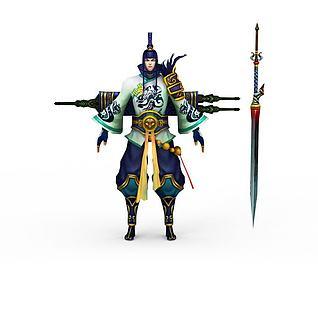 网游武士角色3d模型
