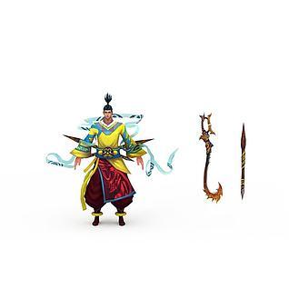武侠游戏角色3d模型