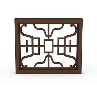 中式窗3d模型