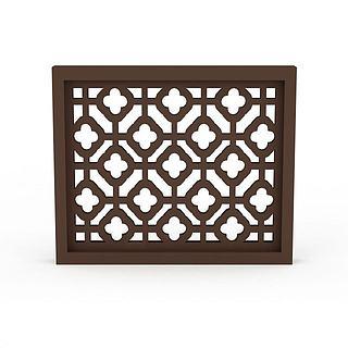 木质镂空窗框3d模型