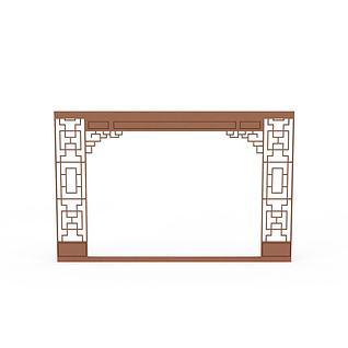 中式木质门框3d模型