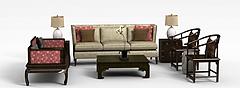 客厅实木沙发茶几模型3d模型