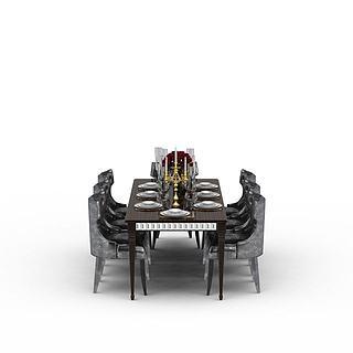 西餐厅<font class='myIsRed'>餐桌</font>3d模型