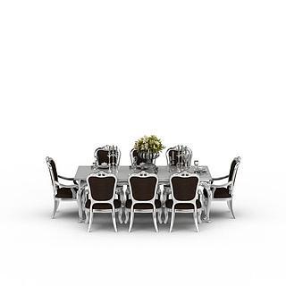 餐厅<font class='myIsRed'>餐桌</font>3d模型