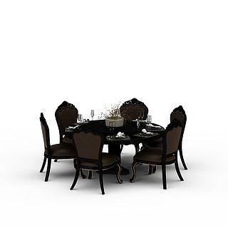 现代餐厅餐桌3d模型