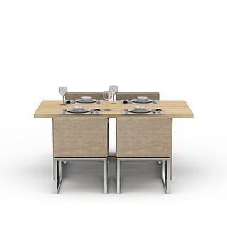 现代餐桌桌椅组合3d模型