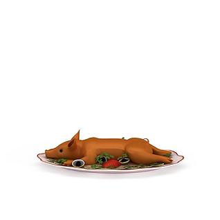 餐盘烤乳猪3d模型
