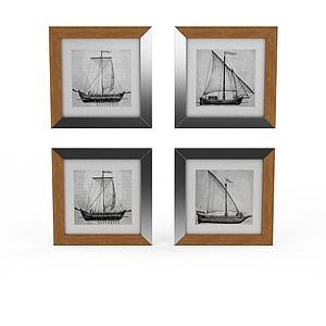 手绘帆船墙饰模型3d模型