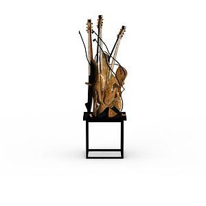 吉他雕塑品模型3d模型