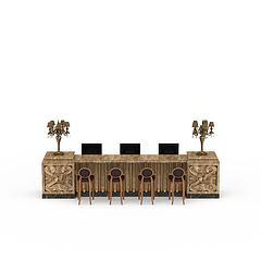 桌椅组合模型3d模型