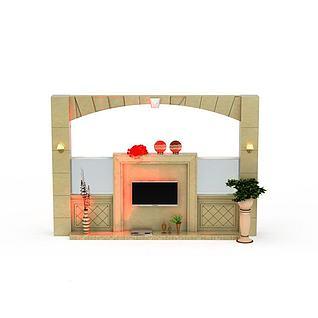 精装电视墙3d模型