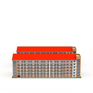 红顶楼房3d模型