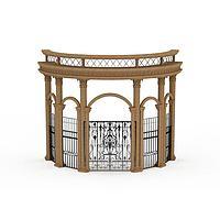 欧式拱形柱门3d模型