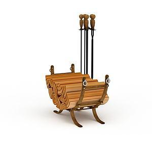 壁炉柴火模型3d模型