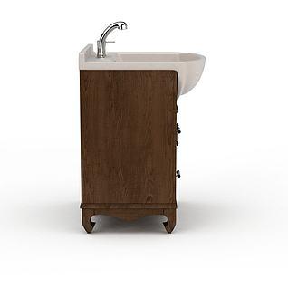 木质洗手柜3d模型