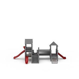 木质滑梯3d模型