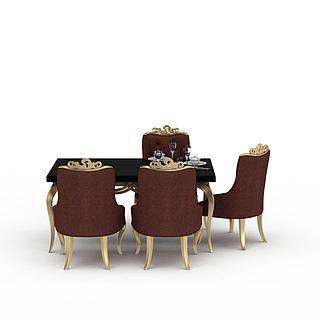 欧式餐桌餐椅组合3d模型