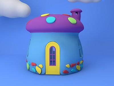 C4D蘑菇<font class='myIsRed'>房子</font>免費模型