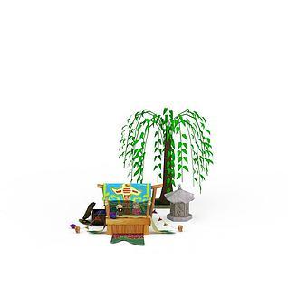 户外游戏场景3d模型