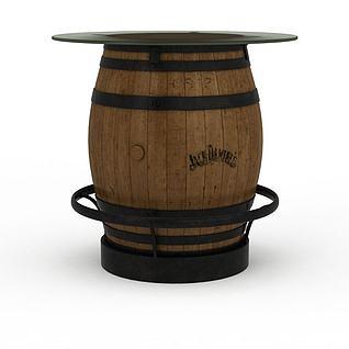 酒桶桌3d模型