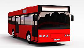 红色大巴3d模型