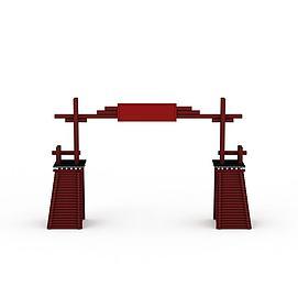 藏式大门建筑3d模型