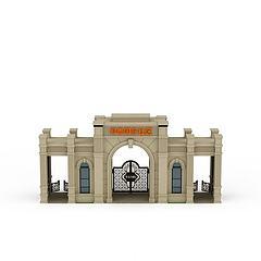 欧式小区大门模型3d模型