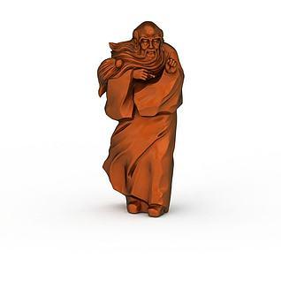 老人雕像3d模型