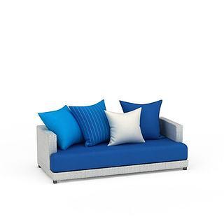 蓝色<font class='myIsRed'>沙发</font>3d模型