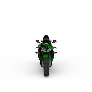 绿色摩托车3d模型