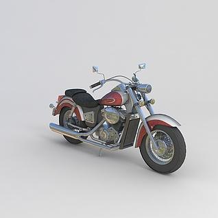 红色摩托车3d模型